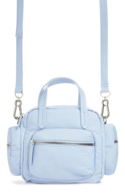 Light Blue Nylon Grab Crossbody Bag