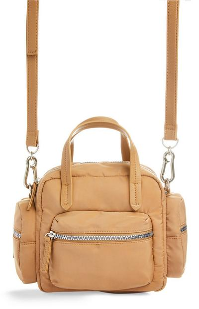 Camel Nylon Grab Crossbody Bag