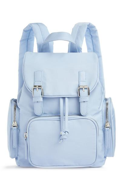 Powder Blue Nylon Mini Buckle Backpack