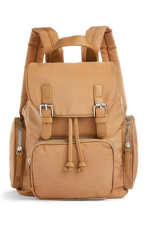 Camel Nylon Mini Buckle Backpack