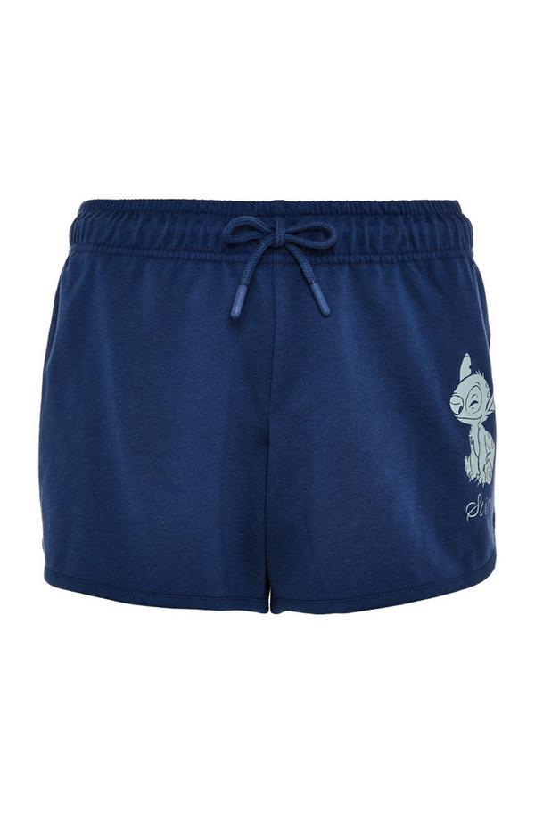 Short bleu marine Lilo et Stitch avec liens à nouer à la taille