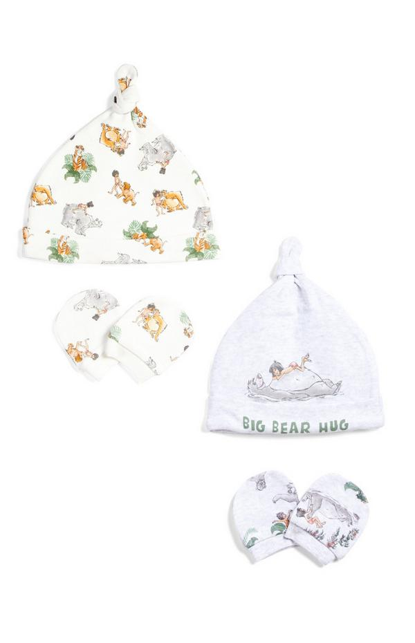 2-Pack Newborn Baby Jungle Book Hat And Mittens Sets