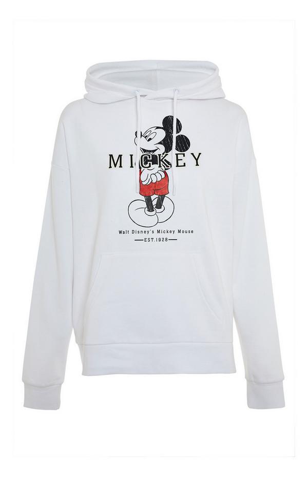 Felpa bianca con cappuccio Mickey Disney