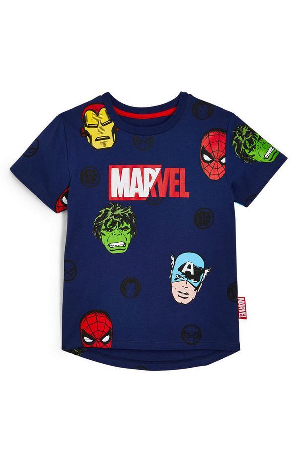 T-shirt blu navy con personaggi Marvel da bambino