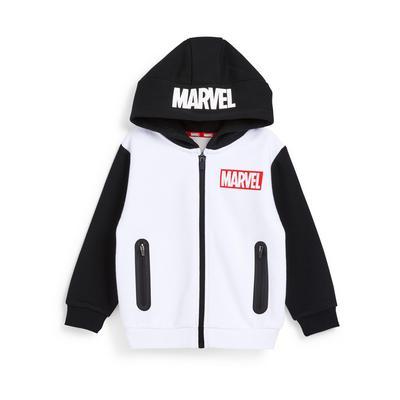 Zwart-witte hoodie met Marvel-print en volledige rits, jongens