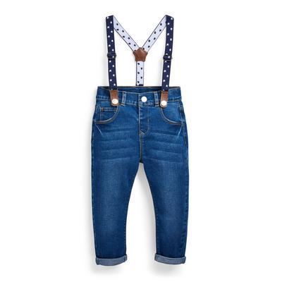 Fantovske modre kavbojke iz džinsa z naramnicami za dojenčke