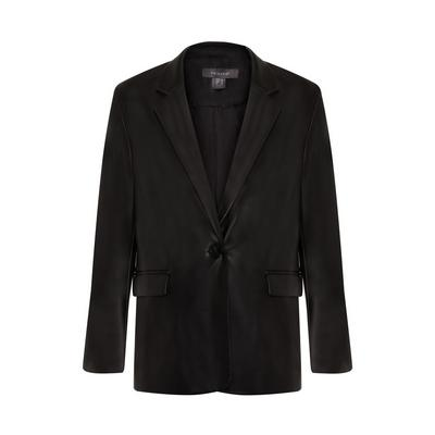 Black Faux PU Leather Blazer
