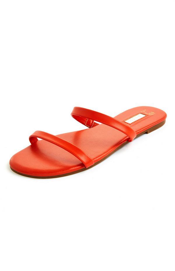Orange Strappy Sandal Mules