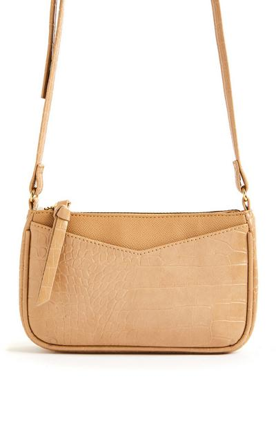 Tan Faux Lizard Texture Slip-Pocket Crossbody Bag
