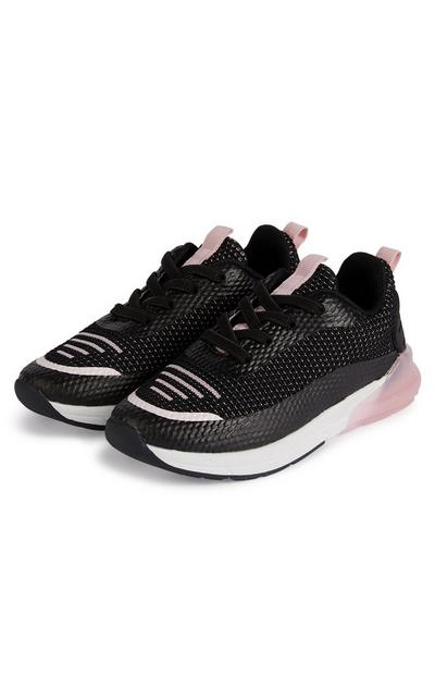 Younger Girl Black And Pink Contrast Heel Trainers