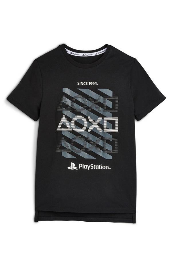 Črna majica s kratkimi rokavi PlayStation za starejše fante