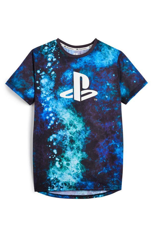Older Boy Blue Galaxy PlayStation T-Shirt