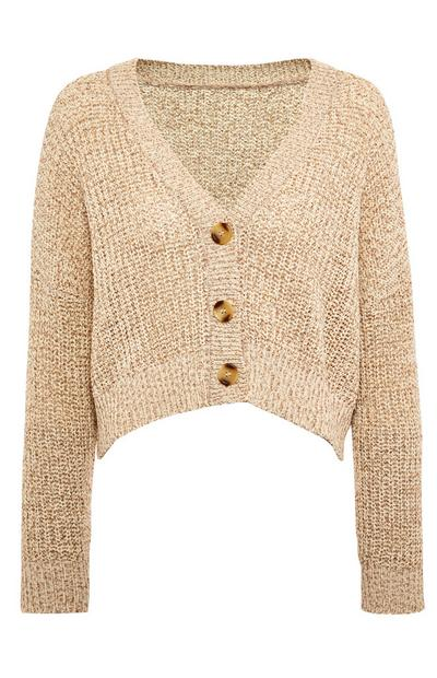 Beige Tape Yarn Cardigan