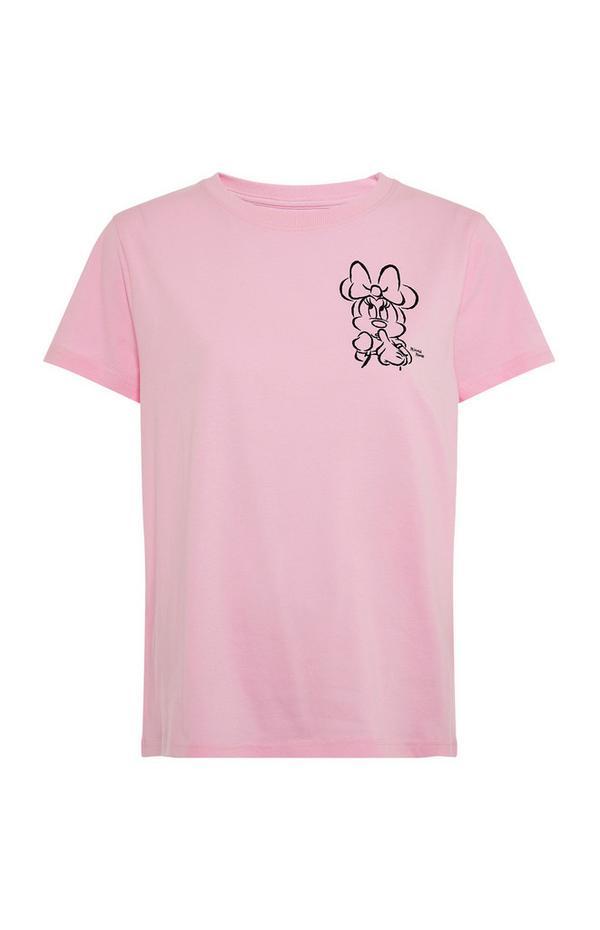 Roze T-shirt met getekende Disney Minnie Mouse