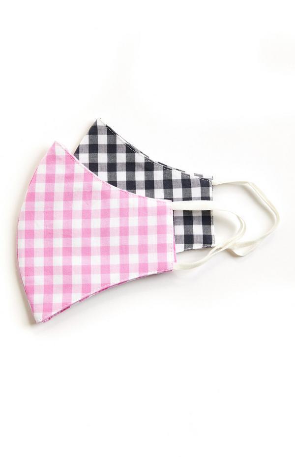 Geweven mondkapjes, zwart geruit en roze geruit zonder plooien, set van 2