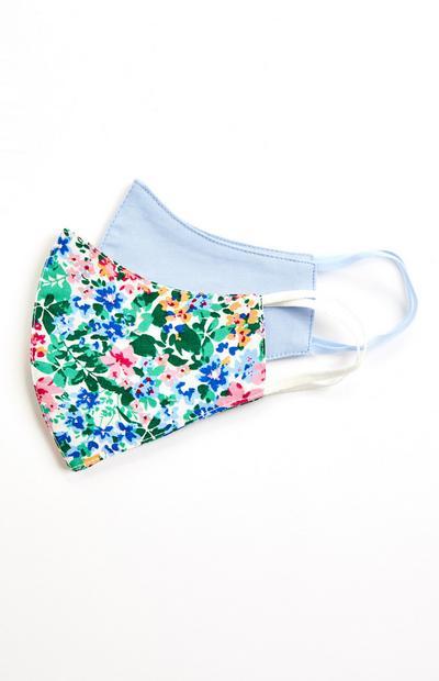 Lot de 2 masques tissés bleu et à fleurs
