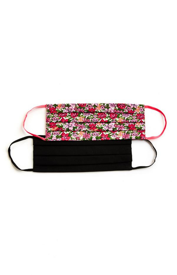 Black And Floral Red Pattern Woven Face Mask Coverings 2 Pack