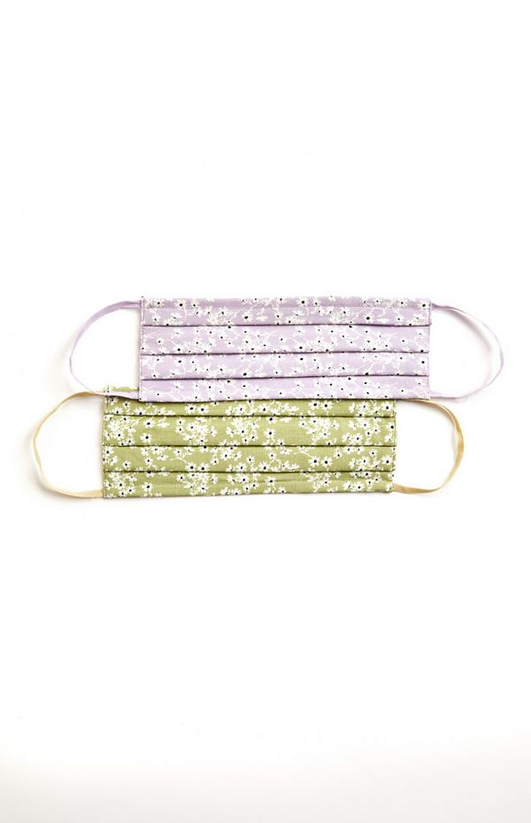Grün und lilafarben gemusterte Masken aus Stoff, 2er-Pack