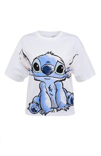 White Lilo And Stitch Print Cotton Boxy T-Shirt