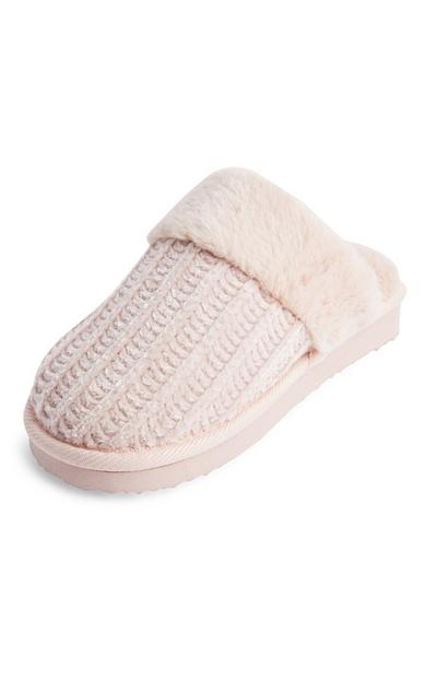 Pink Faux Fur Trimmed Chenile Eva Slippers