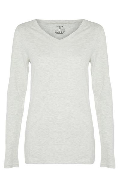 Stone Stretch Long Sleeve V-Neck Top