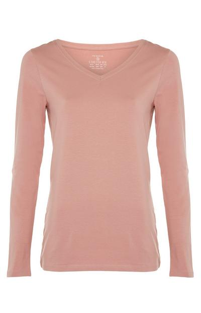 Blush Pink Stretch Long Sleeve V-Neck Top