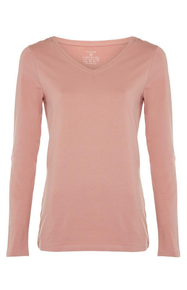 Top rosa cipria elasticizzato con maniche lunghe e scollo V