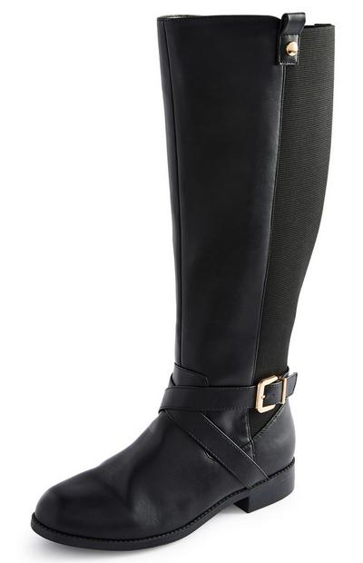 Black Faux Leather Riding Boots