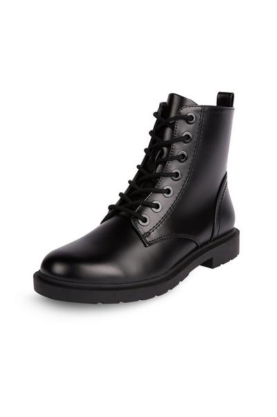 Black Flat Lace Up Boots