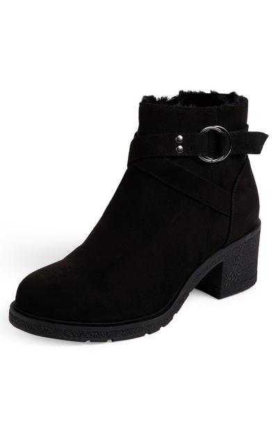 Black Faux Suede Crepe Buckle Boots