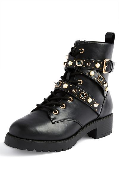 Black Gem Lace Up Boots