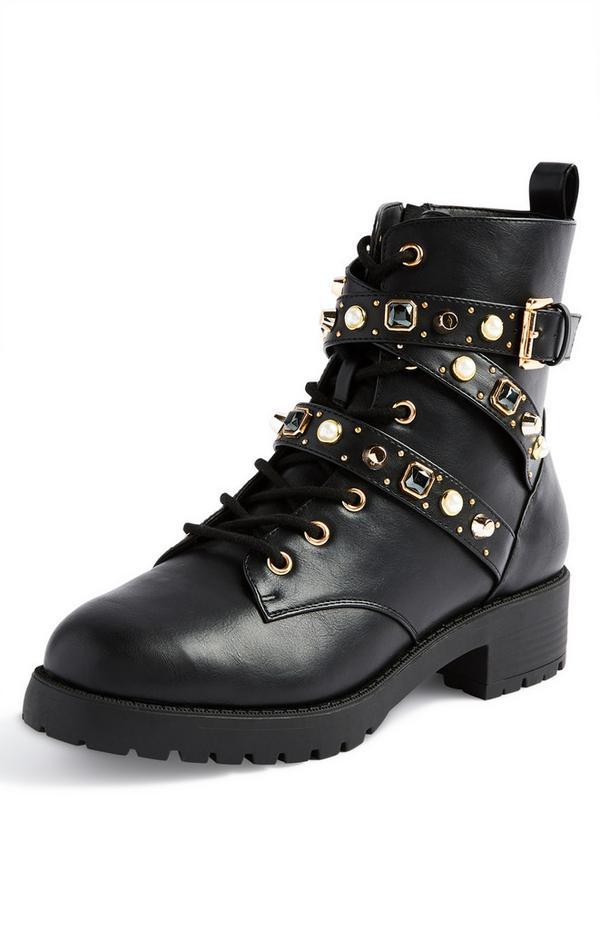 Black Gem Lace Up Boots