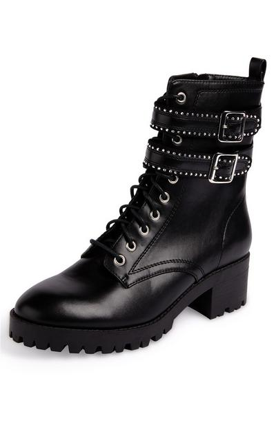 Black Buckled Track Sole Lace Up Low Heeled Boots
