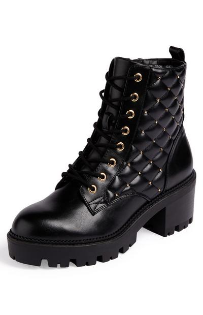 Black Quilted Goldtone Studded Lace Up Low Heel Boots