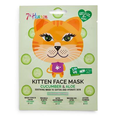 7th Heaven Kitten Print Cucumber And Aloe Face Mask