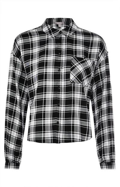 Black And White Check Shirt With Pocket