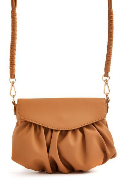 Tan Ruched Crossbody Bag