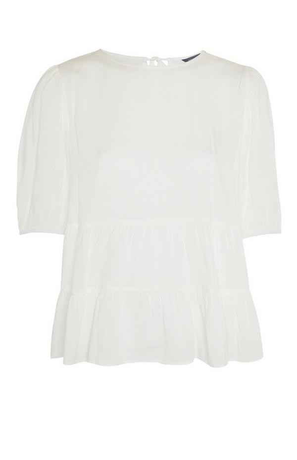 White Tiered Smock T-Shirt