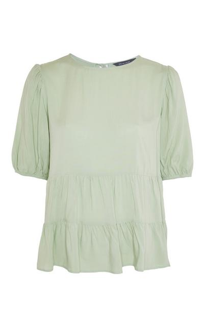 Green Tiered Smock T-Shirt