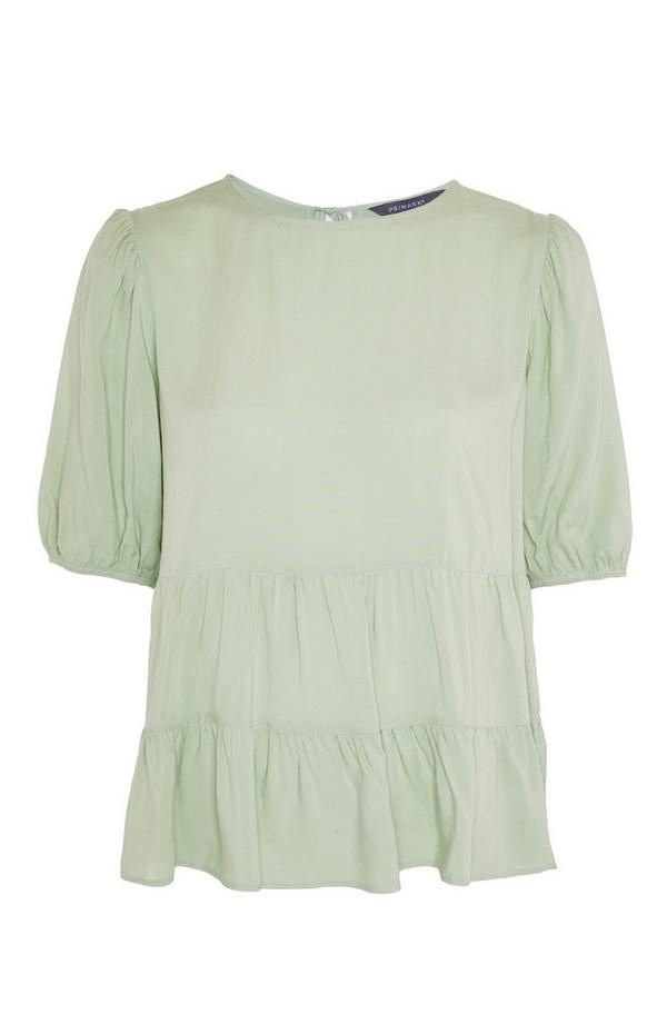 T-shirt verde a balze a punto smock