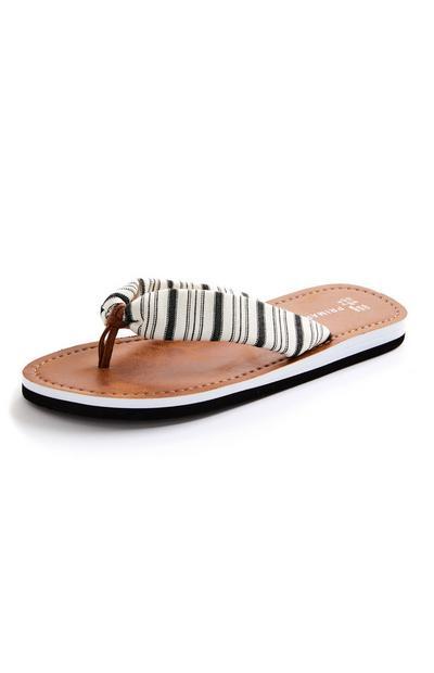 Striped Woven Thong Flip Flops