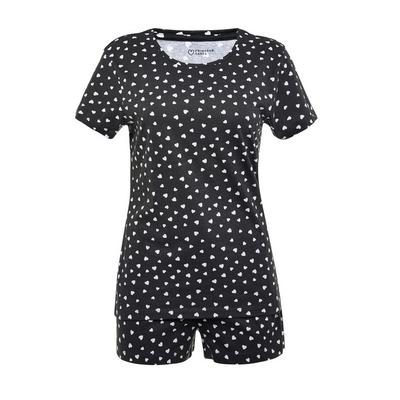 Black Heart Print Short Pyjamas Set