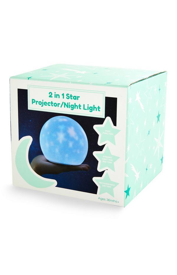 Luz noturna/projetor estrelas 2 em 1 bebé