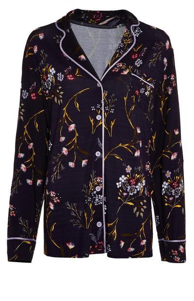 Camisa pijama manga comprida padrão floral miúdo azul-marinho