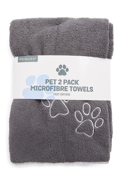 Lot de 2 serviettes grises en microfibre pour animal de compagnie