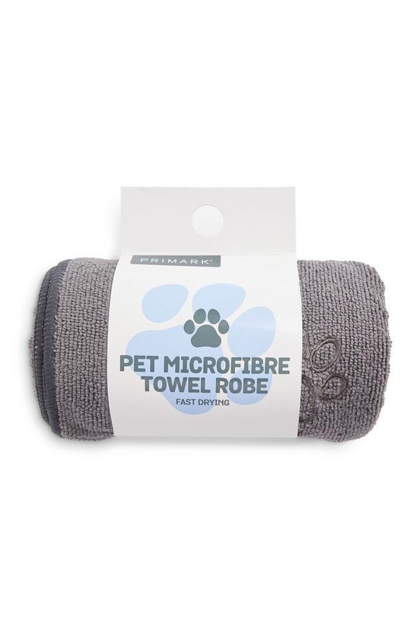 Grauer Mikrofaser-Bademantel für Haustiere