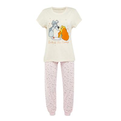 Pijama estampado A Dama e o Vagabundo Disney cor-de-rosa