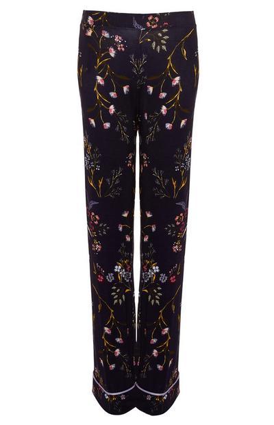 Marineblaue Pyjamahose mit Blümchenmuster