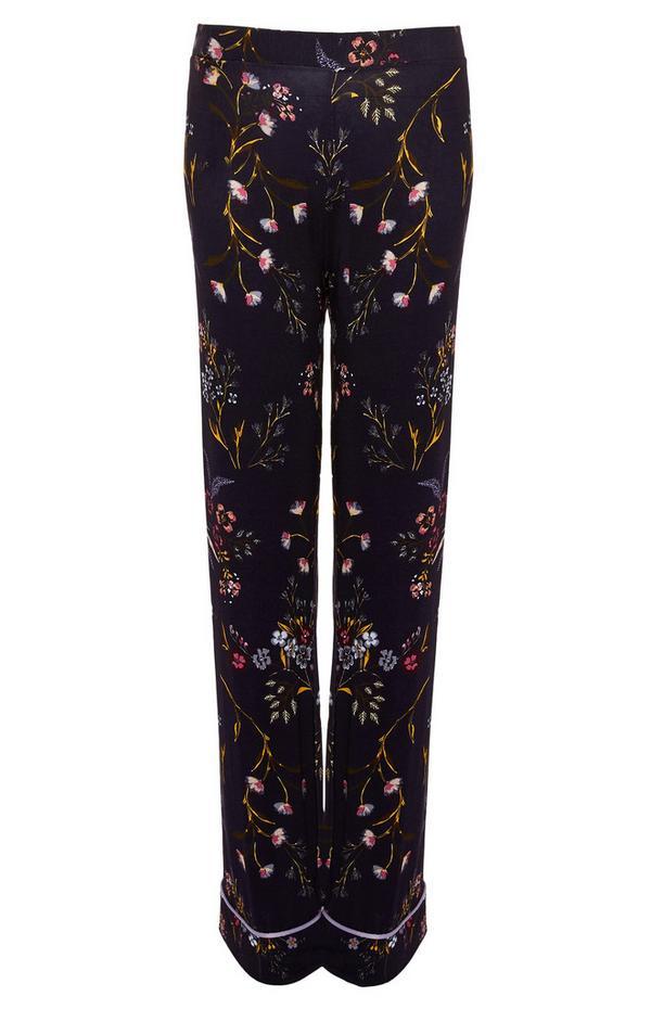 Pantalon de pyjama bleu marine à fleurs