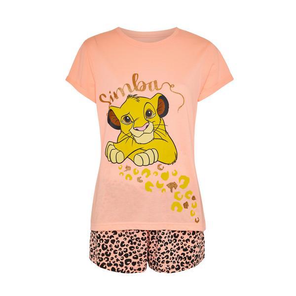 Pyjama corail à imprimé Disney Le Roi Lion Simba avec short